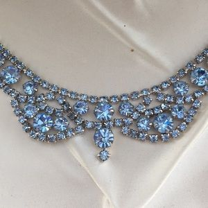 Jewelry - Vintage Blue Rhinestone Necklace and Earrings